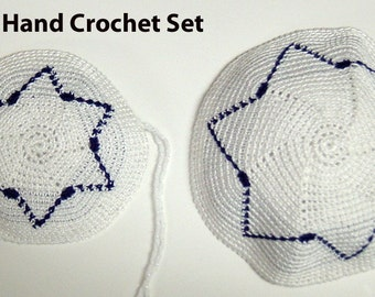Hand crochet Daddy & Me Kippahs Perfect for Bris!