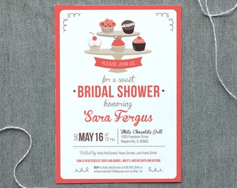 Cupcake Bridal Shower Invitation - Digital File