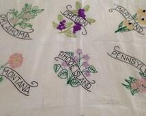 24 Vintage Uncut Embroidered State Flower Quilt Blocks