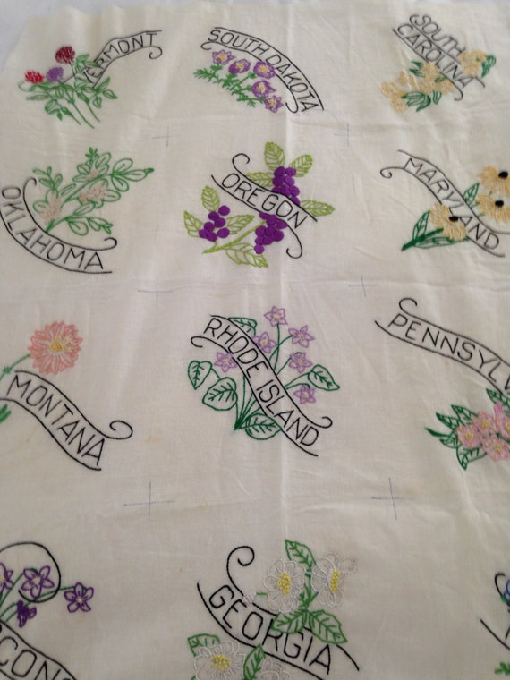 24 Vintage Uncut Embroidered State Flower Quilt Blocks By