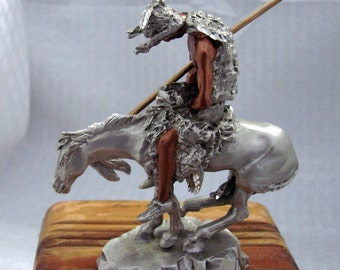 Famous Western Sculpture - The End Of The Trail - Indian Warrior Figurine - Pewter Indian Warrior