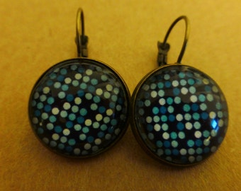 Earrings blue polka dots