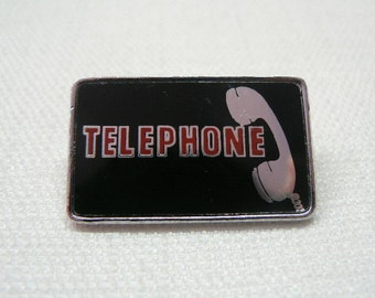 Vintage Late 70s Telephone / French Pop Rock Band / Enamel Clubman Pin / Button / Badge