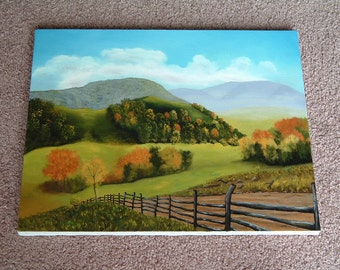 Original oil painting of a countryside landscape