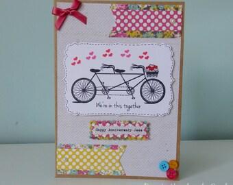 Handmade Bicycle Anniversary card-Personalised!