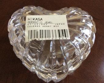 Pretty Mikasa Crystal Heart Shape Trinket Box.