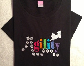 Dog Agility Design Embroidered Tee with Your Choice of Dog Breed