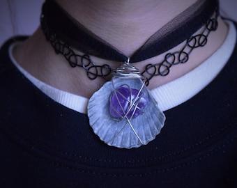 Mystic Amethyst Seashell Choker