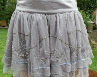 Vintage Grey Ruffle and Net Mini Skirt Size Small / UK Size 8