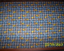 New Blue Plaid Looney Tunes Tweety and Hearts Flannel fabric by the yard and half-yard