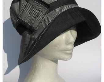 women's hat, handmade, Audrey style, dark grey
