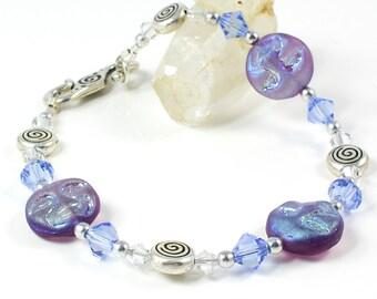 Moon Bracelet | Spiral Bracelet | Celestial Jewelry | Tanzanite Bracelet |  Purple Bracelet | Swarovski Bracelet | Czech Glass Bracelet
