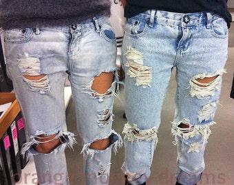 Levis brand jeans custom distressed destroyed denim MEN 34 waist bamafanlp