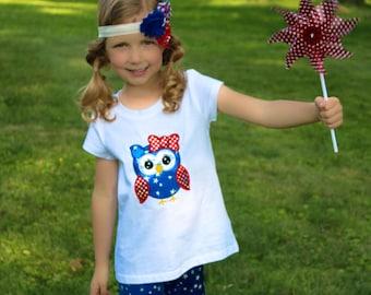Girl's 4th of July Shirt, Patriotic Owl