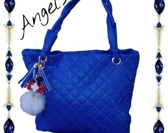 Borsa tasche sac bag donna secchiello con manici in pelle sintetica blu elettrico
