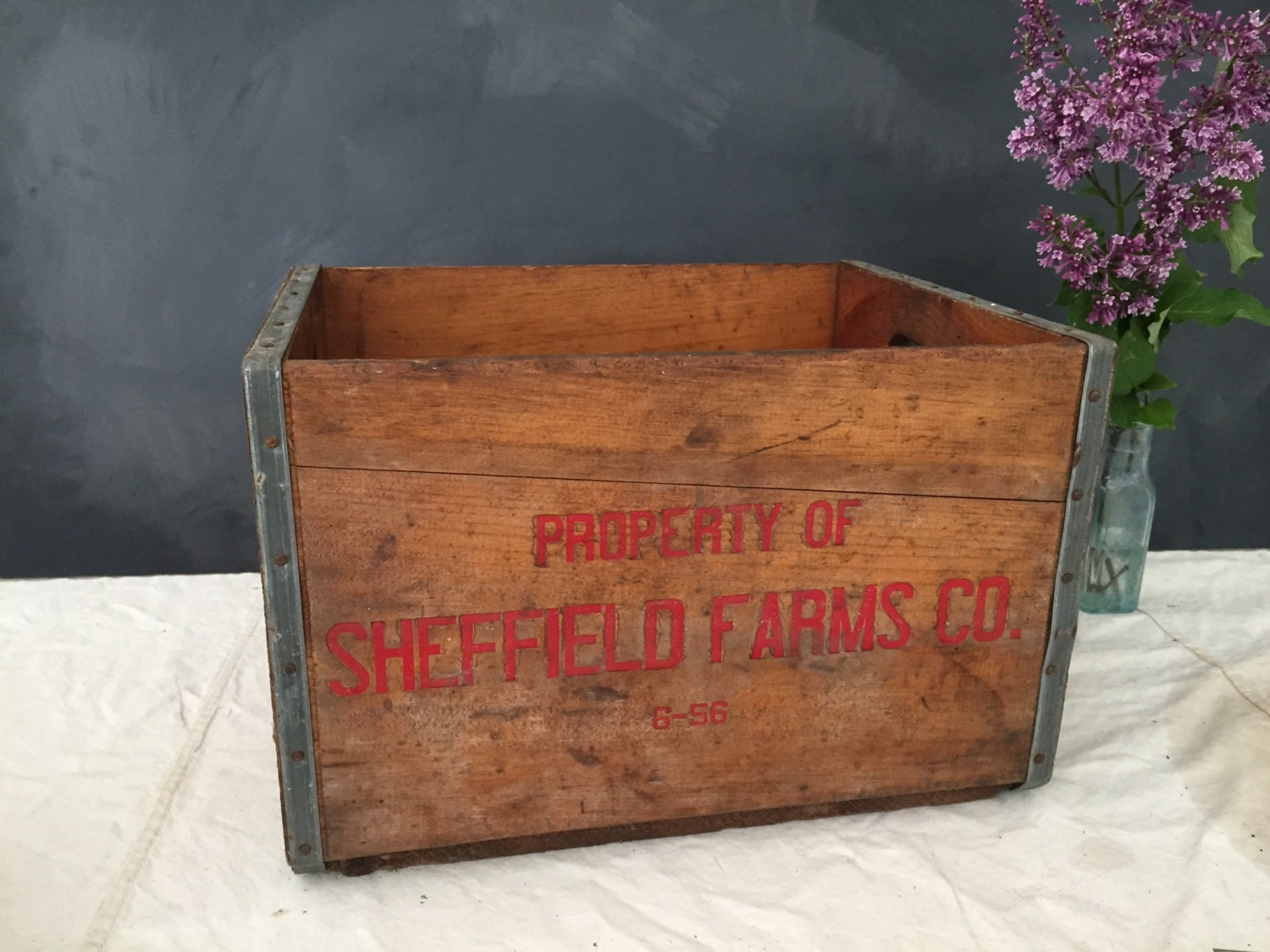 Vintage Wood Milk Crate Sheffield Farms Co Sealtest Wood Crate