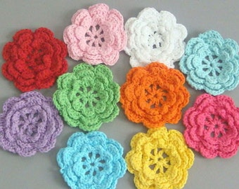 20 Large Handmade Crochet Flower Appliques Multi-Color Sewing A162