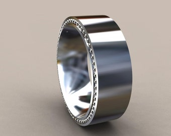 white gold 8mm mens wedding band recessed beading 14kt gold designer mens wedding ring wide simple mens wedding ring rustic mens ring