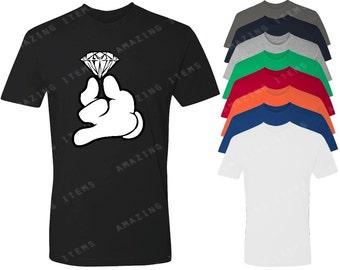 Mickey Hands Holding Diamond Men's T-shirt Cartoon Hands Shirts
