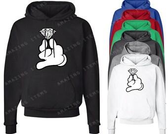 Mickey Hands Holding Diamond Hoodie Cartoon Hands Sweatshirts