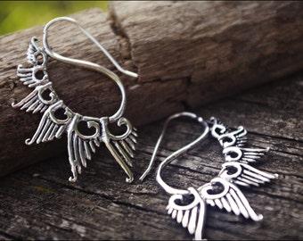 Silver earrings. Tribal jewelry.