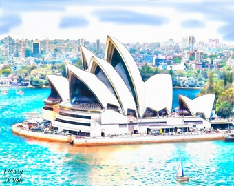 Sydney Opera House Watercolor Graphic Print