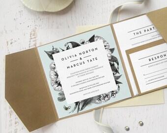 Botanical Floral, Rustic Wedding Invitation Suite / Printable Square Design / Set of 3