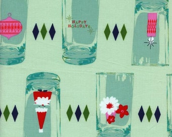 Cotton and Steel,Tinsel Christmas Fabric, Cheers in Teal, Glasses in Retro Christmas Colors