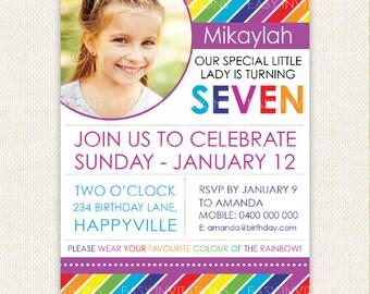 Rainbow Birthday Invitation, Boy invitation, Girl invitation, photo, rainbow party, Printable, Digital