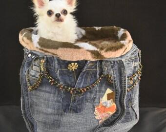 Copper Flames Denim Dog Bag