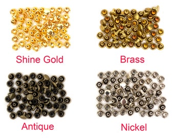 High quality 8mm(diameter) double sided rivet and  brass metal Studs, Anti-rust, making asscessories(30set)-LTCMLT-