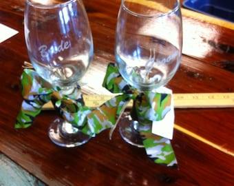 Bride & Groom Antler Wine glasses