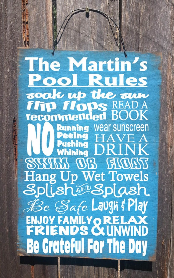 pool decor, Personalized Pool Rules sign, Pool Rules Sign, pool house decor, pool house sign, swimming pool sign, backyard decor, 70