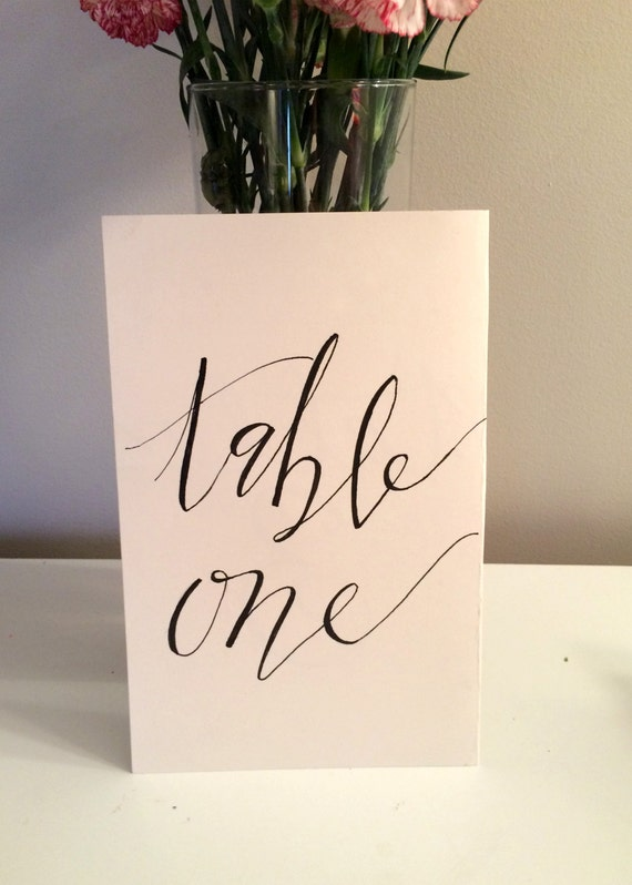 Items Similar To Calligraphy Table Numbers On Etsy