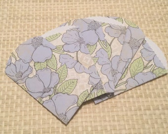 12 Mini Blue Floral Craft Bags, Mini Pouch for Scrapbook Albums, Favor Bags, Seed Bags, Gift Card Holder,