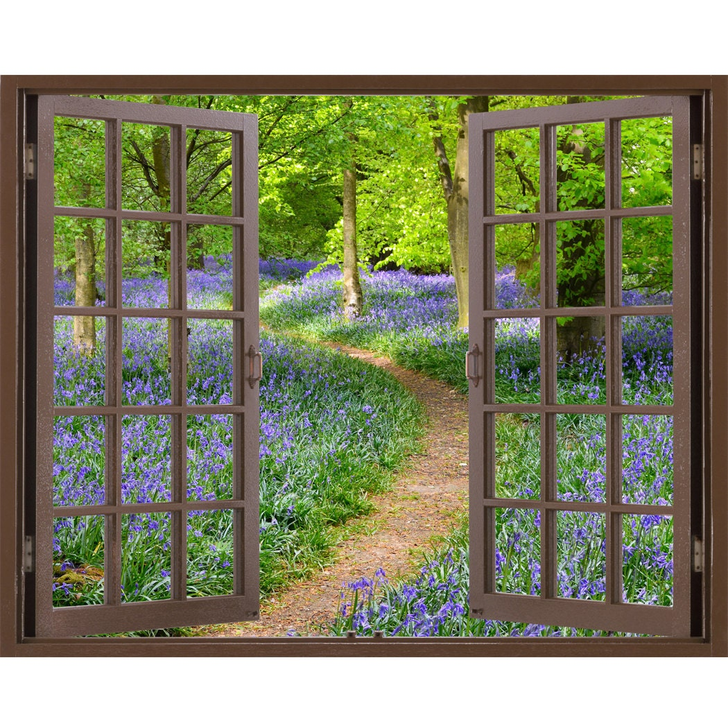 window frame mural bluebell wood huge size peel and stick
