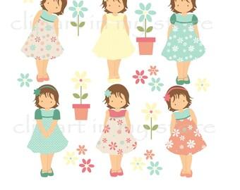 Little girl clipart | Etsy