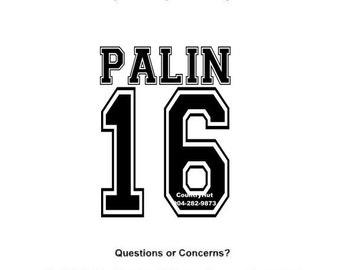 T-SHIRT - Sarah PALIN - for PRESIDENT 2016 (Black 16)