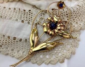 Signed Courtly 1/20 12K Gold Filled Flower Brooch