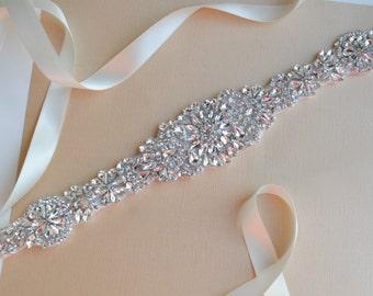 Rhinestone Bridal Belt, Jeweled Crystal Wedding Sash
