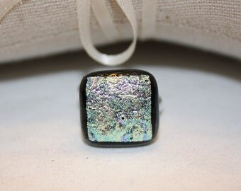 ON SALE - Handmade Fused Glass Ring - Dichroic Glass Ring - Statement Ring - Dichroic Glass