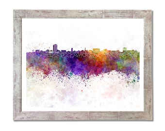 Ann Arbor skyline in watercolor background - SKU 0724