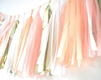 Tissue Tassel Garland - Pink, White and Gold  - Wedding Decor / Nursery Decor /