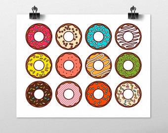 Donuts Art Print - Kitchen wall art, fun art print, colorful nursery art, pop art prints, foodie art, home decor, modern wall decor, food