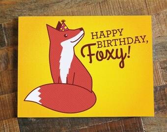 Foxy Birthday Card - card for boyfriend, girlfriend, husband or wife, cute fox, birthday love card, happy birthday foxy, significant other