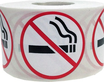 "Small 0.75"" Round No Smoking Stickers 