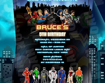 Justice League Birthday Invitation, Justice League Invitation, Justice League Invite, League Party, League Birthday, DC Invites