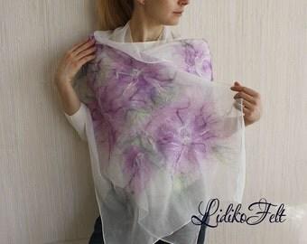 WHITE Nuno Felted Silk Scarf Shawl Wrap LILAC FLOWERS