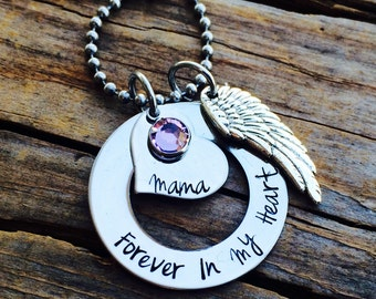 Personalized Hand Stamped Forever In My Heart Necklace - Angel Wing - Swarovski Birthstone - Stainless Steel