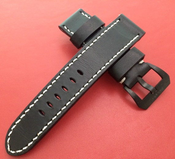 Leather watch Band, 24mm, 26mm, Handmade, Black, leather watch strap, Black buckle, watch strap, watch band for Panerai - Free Shipping